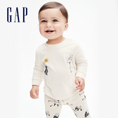 Gap嬰兒 可愛動物印花圓領長袖T恤 622872-象牙白