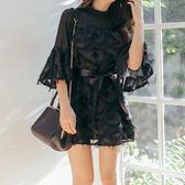 工廠直銷不退換!連身裙春季蕾絲五分袖網紗拼接性感OL系帶中長大碼裙101#GT5525紅粉佳人