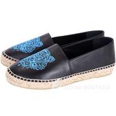 KENZO Leather Tiger 虎頭刺繡皮革草編平底鞋(黑色) 1640187-01