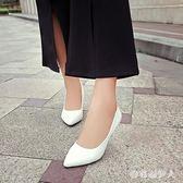 高跟鞋 中跟尖頭職業鞋中跟單鞋工作鞋女黑色高跟鞋 正裝皮鞋秋季 CP551【棉花糖伊人】