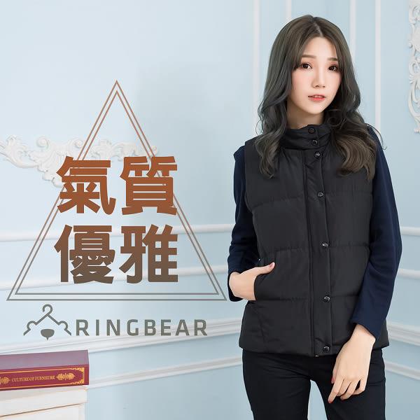保暖背心--簡約時尚立領拉鍊排釦側邊口袋顯瘦剪接羽絨背心(黑XL-4L)-J324眼圈熊中大尺碼