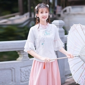 短袖裙裝 中國風套裝女 新款小清新復古棉麻刺繡雪紡袖上衣 半身裙