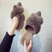 秋冬新款兔毛尖頭平底防滑懶人半拖鞋女百搭時尚外穿毛毛拖鞋【快速出貨】