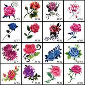 16張套裝紋身貼防水女高仿真玫瑰花朵蝴蝶花臂紋身貼紙免郵拍2送1 生日禮物