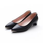 MICHELLE PARK 經典素面金屬尖頭羊皮低粗跟鞋-黑色