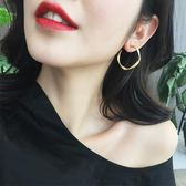S925銀針歐美圓形耳圈氣質耳飾品耳墜簡約個性韓國百搭耳釘耳環女大小姐韓風館