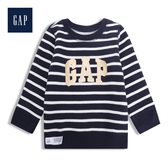 Gap男嬰兒時尚徽標LOGO圓領套頭上衣523989-藍白條紋