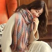 格子圍巾女秋冬韓版百搭加厚保暖可愛披肩兩用【聚寶屋】