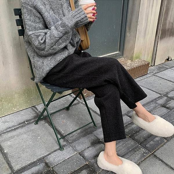 新品優惠 新款冬季大碼毛呢闊腿褲女胖妹妹高腰顯瘦寬松百搭直筒煙管褲