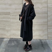 黑色風衣女中長款2019春秋新款韓版寬鬆小個子西裝短外套-完美