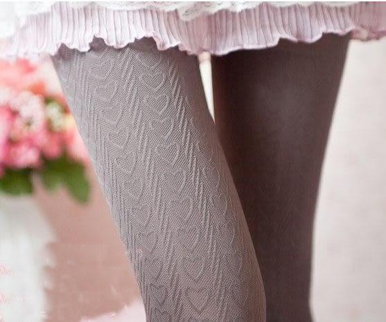 現貨-滿印豎條愛心紋天鵝絨褲襪