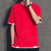 五色入破洞潑漆潮男t恤 個性寬鬆男體恤 假兩件紅色潮流短袖