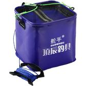 【中秋好康下殺】魚簍可折疊方釣魚桶水桶長20cm送打水繩釣魚箱養魚桶打水桶洗車桶