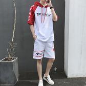 中大尺碼 夏季韓版五分袖套裝男青少年短袖T恤歲兩件套潮 zm1343『男人範』