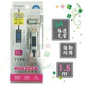 【九元生活百貨】SC3CL93 LED數位電表TYPE-C充電傳輸線/1.5m 高速傳輸充電線 USB傳輸線 手機充電線