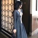洋裝 複古海軍風長袖法式洋裝女裝2019新款潮秋冬收腰顯瘦中長款裙子