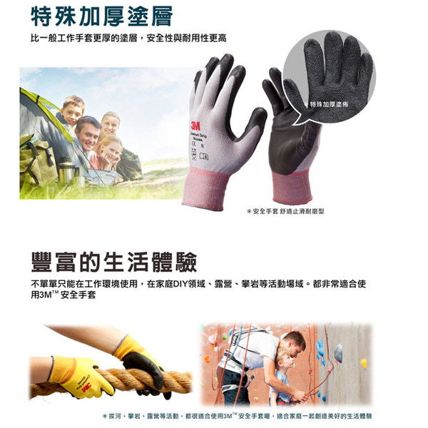 3M 亮彩止滑手套 防滑手套 耐磨手套 手套 工作手套 舒適型止滑耐磨 修繕園藝 防護 韓國製