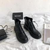 短靴 港味馬丁靴女2020春季新款黑色復古英倫風學生韓版百搭瘦瘦靴短靴「艾瑞斯居家生活」