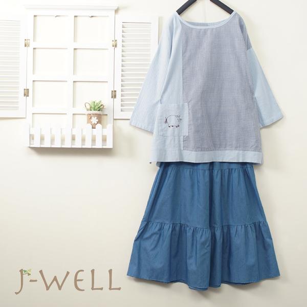 J-WELL 拼接上衣牛仔蛋糕裙二件組(組合A348 9J1013藍+8J1522中藍)
