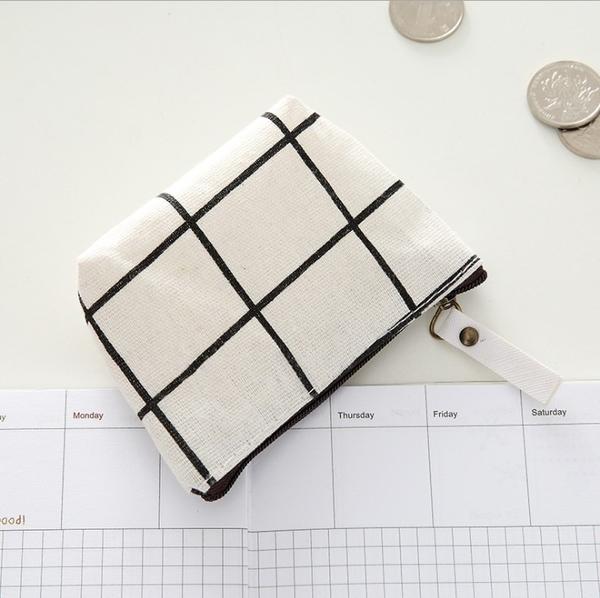 Qmishop 拉鍊棉麻零錢包北歐風小清新簡約時尚鑰匙包【J2099】