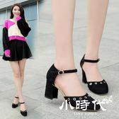 半拖鞋 高跟鞋女鞋復古一字扣包頭中空涼鞋淺口粗跟方頭單鞋