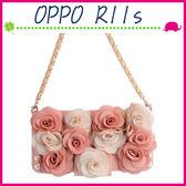 OPPO R11s 6吋 Plus 6.4吋 淑女風皮套 雙色粉玫瑰花保護殼 側翻手機殼 可插卡保護套 磁扣手機套