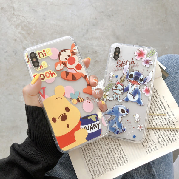 【SZ14】卡通維尼史迪奇氣墊防摔殼 iphone xs max手機殼 xr防摔手機殼 iphone 8 plus手機殼 i6s plus 手機殼