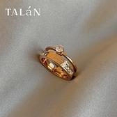 戒指塔蘭大鋯石鈦鋼雙層戒指女輕奢時尚高級感個性指環不可調節食指戒 JUST M