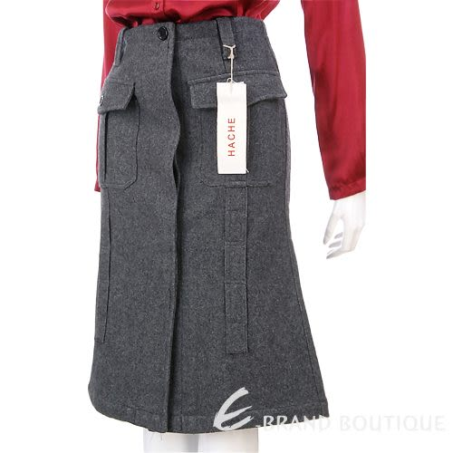 HACHE 灰色隱藏排釦毛料及膝裙 0550097-06