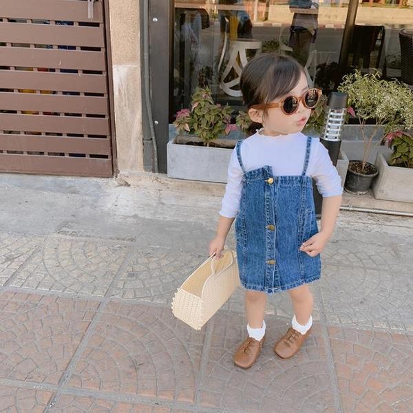 女童打底衫洋氣牛仔背帶裙子【奇趣小屋】