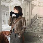 皮衣女短款2018秋冬季新款韓版小皮夾克顯瘦外套高腰修身pu機車服
