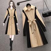 長袖洋裝 大碼連身裙 禮服L-4XL18348韓版大碼微胖mm設計感拼接顯瘦減齡連身裙4F093 皇潮天下