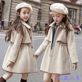 女童呢子大衣2020新款韓版洋氣夾棉加厚秋冬款中大童收腰毛呢外套 【毛菇小象】
