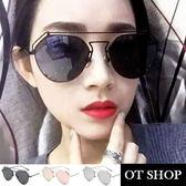 OT SHOP太陽眼鏡‧抗UV墨鏡全金屬鏡架雷朋不規則個性鏡框銀框反黑/玫瑰金/霧黑全黑現貨N51