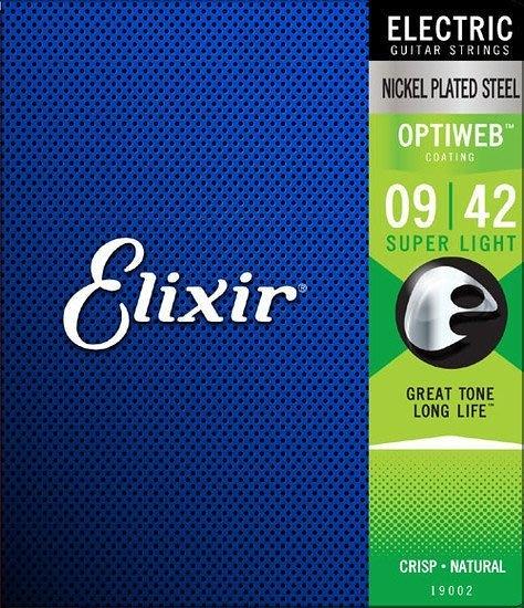 唐尼樂器︵ Elixir 頂級 Optiweb 19002 09-42 超薄防鏽鍍膜電吉他弦(自然聲音/手感)