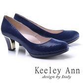 ★2017秋冬★Keeley Ann簡約美學~千鳥紋金屬造型鞋跟OL全真皮中跟鞋(藍色)