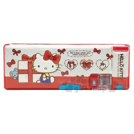 〔小禮堂〕Hello Kitty 雙開式多功能鉛筆盒《米紅.禮物》學童文具 4712937-66914