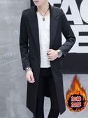 男士外套冬季2019新款韓版修身加厚中長款風衣男秋裝休閒過膝披風