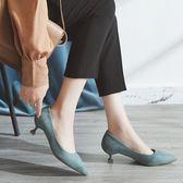 職業鞋低跟鞋 貓跟鞋女百搭秋季新款小跟高跟鞋細跟尖頭低跟職業單鞋女3cm city精品