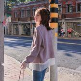 毛衣外套女復古寬鬆拼接短款針織開衫 衣普菈
