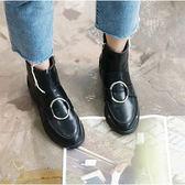 [ALMANDO-SHOES] Doma 圓圈低跟短靴 平底靴子 韓國空運 (亮面/霧面)