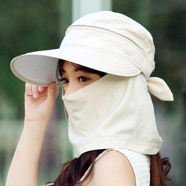 帽子女夏天遮陽帽戶外防曬帽防紫外線電動車遮臉太陽帽可折疊出游