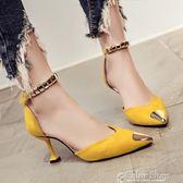 韓版夏新款貓跟中空單鞋尖頭鞋一字搭扣高跟鞋細跟5cm女涼鞋color shop