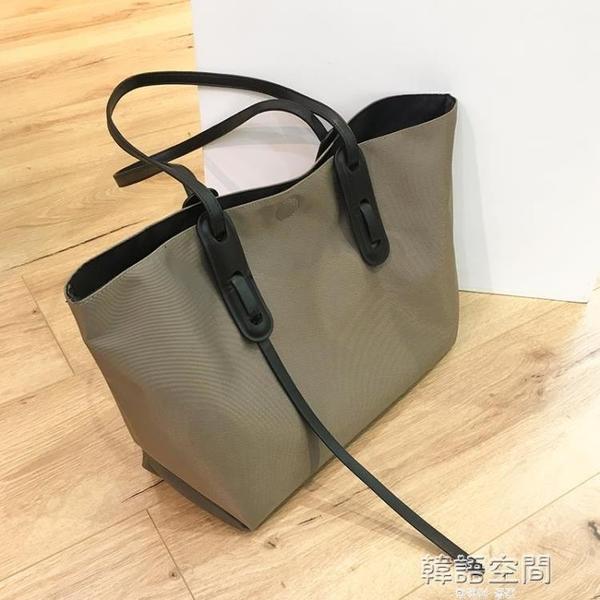 網紅大包包2021新款潮簡約手提大容量水桶時尚單肩女包百搭托特包