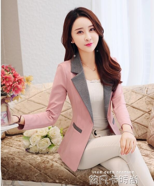 2020秋裝新款長袖小西服女韓版修身休閒小個子西裝女短款外套上衣 依凡卡時尚