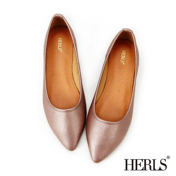 平底鞋-HERLS 極簡迷人 銀河星空尖頭平底鞋-香檳色