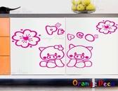 壁貼【橘果設計】粉紅豬 DIY組合壁貼/牆貼/壁紙/客廳臥室浴室幼稚園室內設計裝潢