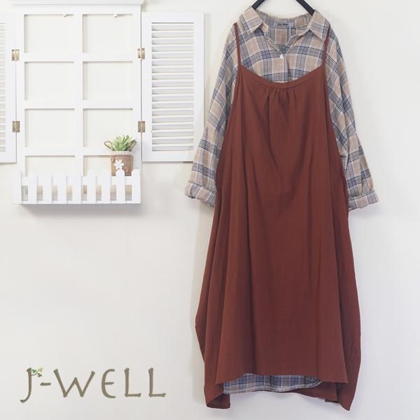 J-WELL 純棉格紋長版上衣細肩帶洋裝二件組(組合A480 8J1633焦糖+9J1015卡)