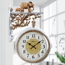 歐式雙面掛鐘靜音客廳個性掛表創意時鐘田園現代簡約家用鐘錶