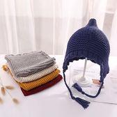 韓版春秋兒童新款套頭帽子男女童護耳嬰幼兒可愛手工針織防風帽